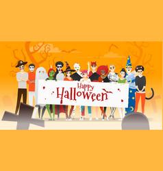 Group teens in halloween costume concept vector