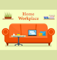 Home workplace room with sofa vector