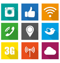 icons for social networking in flat design vector image