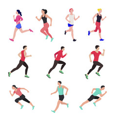 Jogging and running people runners in motion vector
