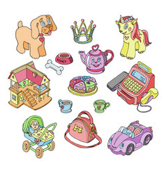 kids toys cartoon games for children vector image