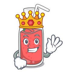 King strawberry smoothie mascot cartoon vector