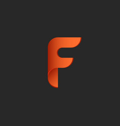 letter f logo fire symbol paper or plastic vector image