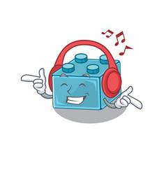 Listening music lego brick toys cartoon character vector