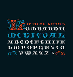 lombardic medieval capital font vector image