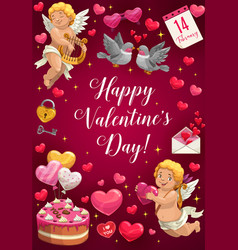 love hearts valentines day gifts letter cupid vector image
