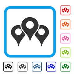 Map locations framed icon vector