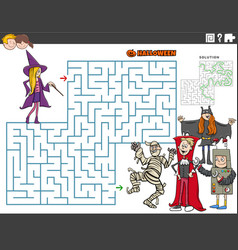 Maze game with cartoon kids on halloween time vector