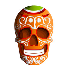 mexican colorful skull icon cartoon style vector image