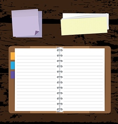 Notebooks Background with Post it and Notepad vector image