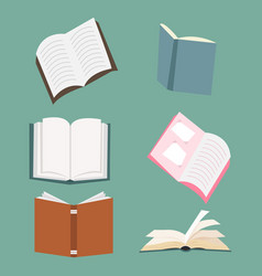 open books set vector image