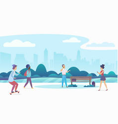 People walking and relaxing in a beautiful urban vector