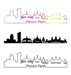 Phnom Penh skyline linear style with rainbow vector image