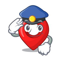 police gps navigation pin on character cartoon vector image