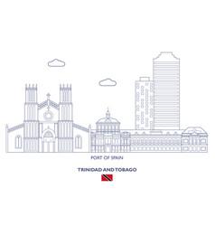 port of spain city skyline vector image
