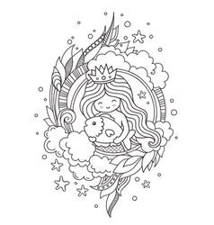 portrait of little princess mermaid hugging big vector image