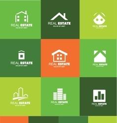 Real estate logo flat set icon design vector