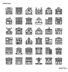 Real estate outline icons perfect pixel vector