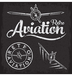 Retro grunge aviation label vector