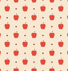 Retro seamless pattern red apples and dots vector