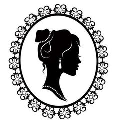 retro silhouette profile of a young girl vector image