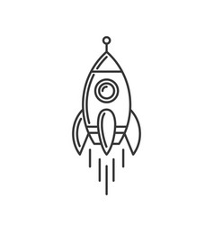 rocket icon space shuttle logo on white vector image