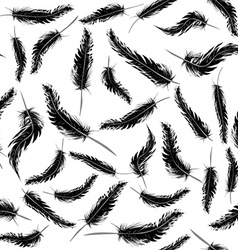 Seamless background with black feathers vector image