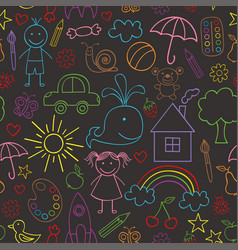 seamless pattern with child drawings black vector image