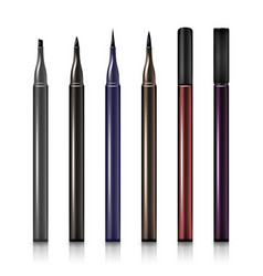 Set cosmetic makeup eyeliner pencil modern vector