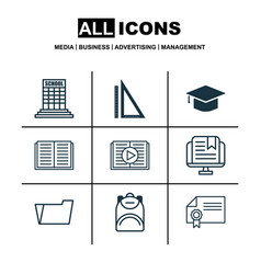 Set of 9 school icons includes graduation taped vector
