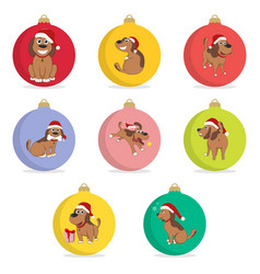 Set of christmas ball funny cartoon puppy in the vector