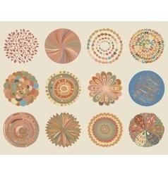 Set of colorful beautiful deco mandalas vector