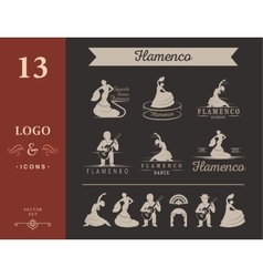 Set of logos and badges Flamenco vector image