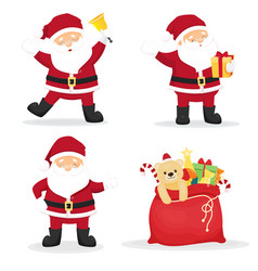 Set of three cartoon funny santa clauses vector