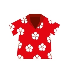 Shirt hawaiian flowers red vector
