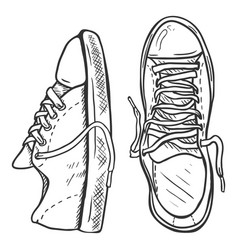 Sketch - pair casual gumshoes top and side view vector
