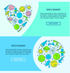 space theme flyer templates in line style with vector image