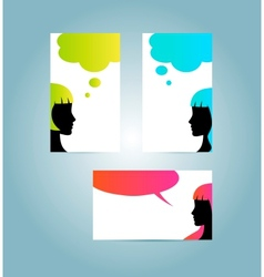 speech bubble business card templates vector image
