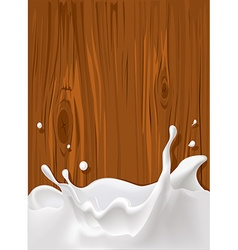 splash of milk with wood texture for background vector image