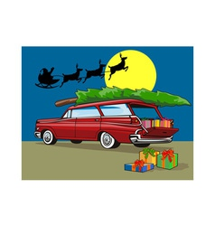 Station Wagon Christmas with Santa on Sleigh vector