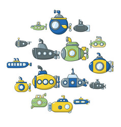 submarine icons set cartoon style vector image