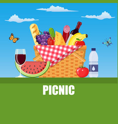summer picnic concept with basket vector image