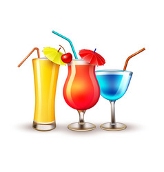 Summer vacation realistic cocktail glass vector