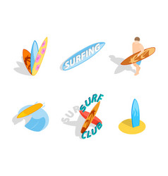 surf board icon set isometric style vector image