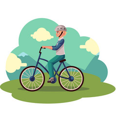teen boy teenager riding urban bicycle cycling vector image