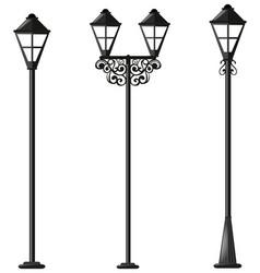 Three design of street lamps vector