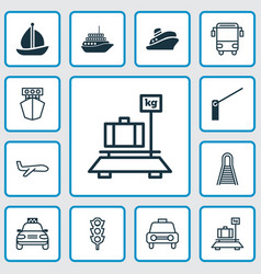 Transport icons set collection of baggage ship vector