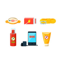 Travel icons set necessary supplies for trip and vector