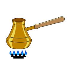 Turkish coffee pot on gas burner vector