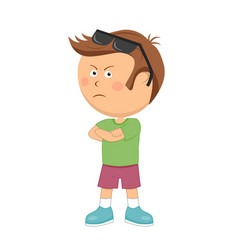 Unhappy little boy with arms folded standing vector